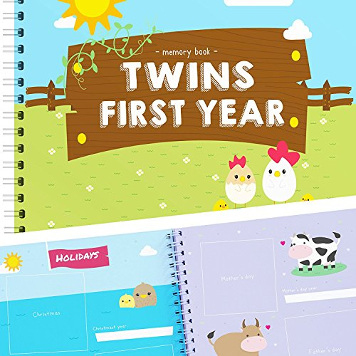 Twins First Year Memory Book - A Gorgeous Baby Keepsake Journal to Cherish Your Twin's First Year Forever! Includes Stickers, Family Tree, Holidays, Letters from Mom & Dad and Much More! from Unconditional Rosie
