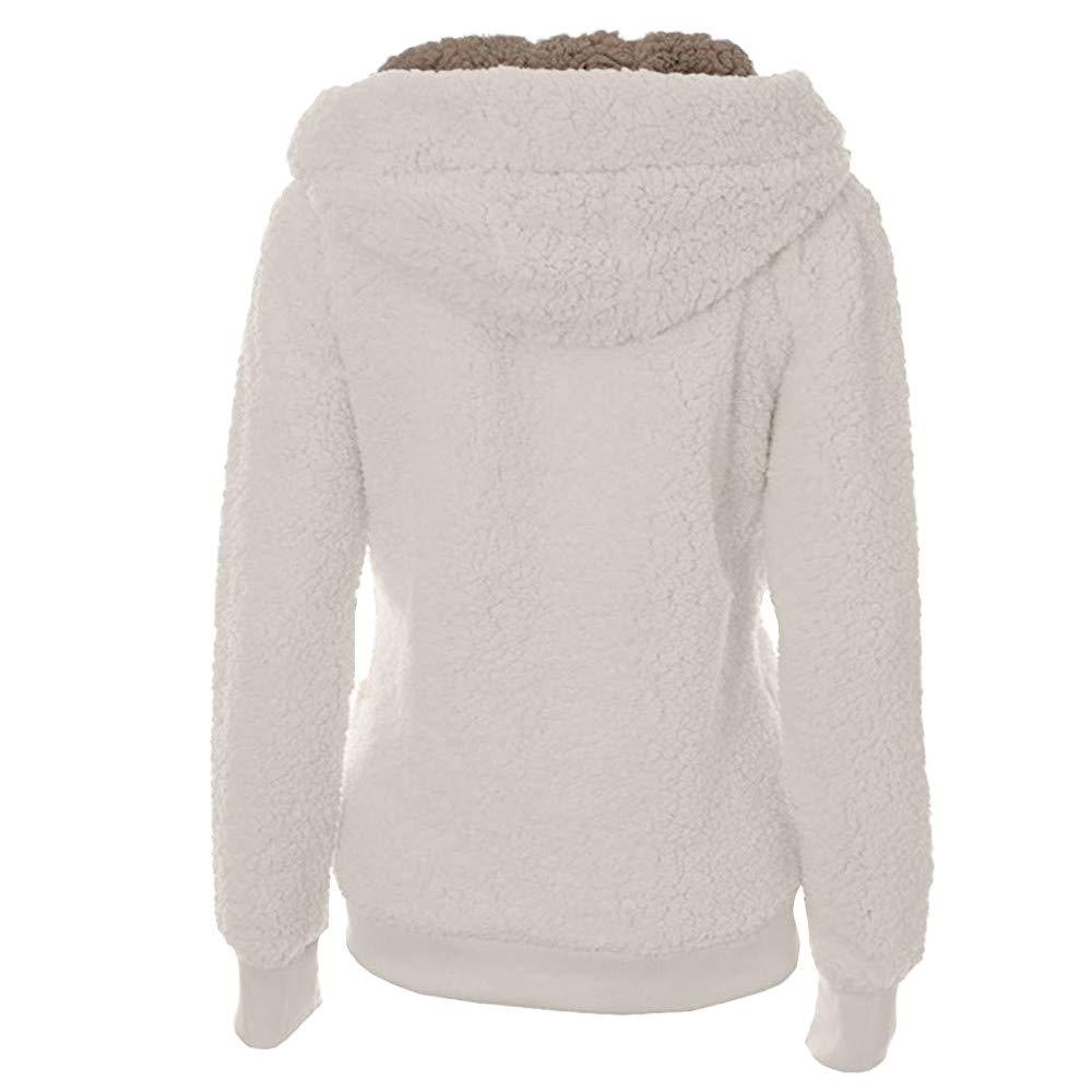 Kulywon Ladies Womens Soft Teddy Hooded Jumper Hoody Jacket Coat With Pocket