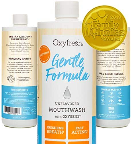 Oxyfresh Sensitive Formula Unflavored Mouthwash - for Sensitive Teeth and Gums. Fresh Breath. Dentist Recommended. No Mint, Flavor Free, No Artificial Colors, Alcohol Free 16oz