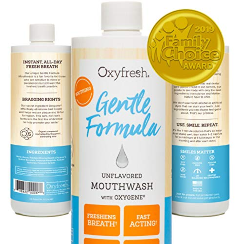Oxyfresh Gentle Formula Unflavored Mouthwash - for Sensitive Teeth and Gums. Fresh Breath. Dentist Recommended. No Mint, Flavor Free, No Artificial Colors, Alcohol Free 16oz