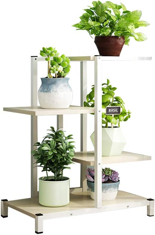 AILY Flower Plant Pot Stand,Metal Plant Stand High Low Flower Shelves Planter Rack Storage Organizer Display for Indoor Outdoor Garden Balcony,White,4 Floors