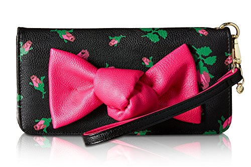 Betsey Johnson Women's Bow Double Entry Wristlet Wallet Purse - Rosebud Floral - Evening Johnson Betsey