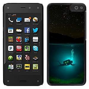 // PHONE CASE GIFT // Duro Estuche protector PC Cáscara Plástico Carcasa Funda Hard Protective Case for Amazon Fire Phone / Diver Diving Underwater Tank Night /