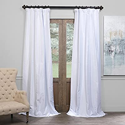 "HPD Half Price Drapes PDCH-KBS1BO-96 Blackout Vintage Textured Faux Dupioni Curtain (1 Panel), 50 X 96, Ice - Sold per panel 100% polyester 3"" Pole pocket with back tabs - living-room-soft-furnishings, living-room, draperies-curtains-shades - 51TrsqWHAdL. SS400  -"