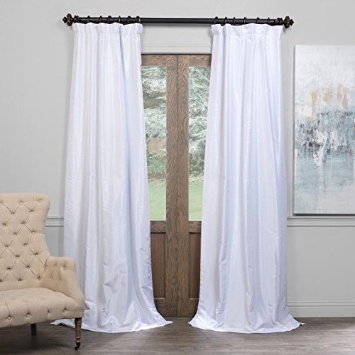 51TrsqWHAdL - Half Price Drapes PDCH-KBS1BO-96 Blackout Vintage Textured Faux Dupioni Curtain, Ice, 50 X 96
