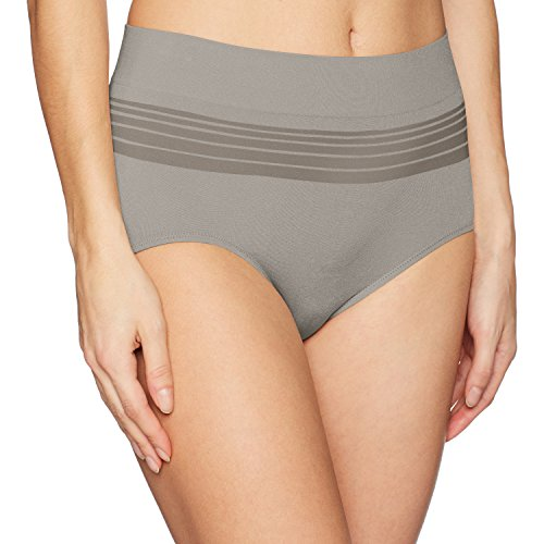 Warner's Women's No Pinching No Problems Seamless Brief Panty, Grey Heather, L -