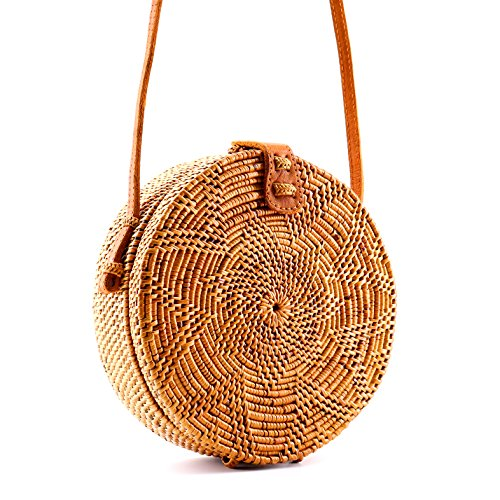 Seven Island Women Cute Chic Handwoven Round Straw Rattan Bamboo Weave Shoulder Leather Straps Beach Button Snap Closure Crossbody Handbag Bag (Round Rattan Bag Natural)