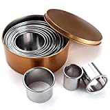 Zicome 11 Piece Round Cookie Cutters, Stainless Steel, Assorted Sizes