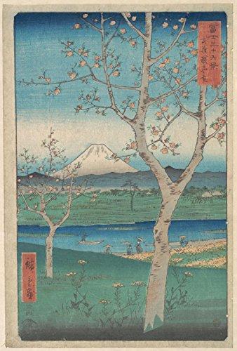 (Historic Pictoric Fine Art Print | View of Mount Fuji from Koshigaya, Province of Musashi | Artist: Utagawa Hiroshige | Created: 1858 | Vintage Wall Decor 11in x 14in)