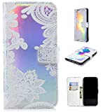 Ostop Leather Wallet Case for iPhone Xs Max,Credit Card Slots Holster with Henna Lace Flower Pattern Stand Holder PU Dual Layer Protective Shell Magnetic Colorful Flip Cover