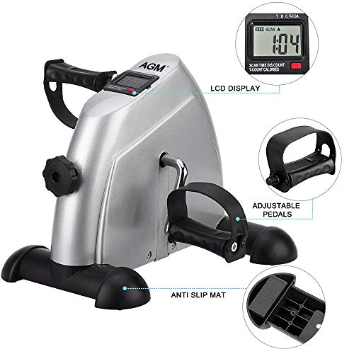 Mini Exercise Bike Pedal Exerciser Portable Cycle Arm and Leg Exerciser with LCD Display by AGM (Image #4)