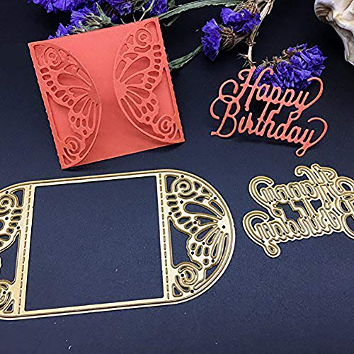 Cutting Dies Creative Metal Template Die Stencil ulti-Style Cut Dies for DIY Scrapbook Album Paper Card(Happy Birthday)