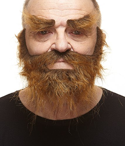 Facial Hair Halloween Costumes (Realistic Traper brown fake beard, mustache and eyebrows, self adhesive)