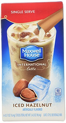Maxwell House International Cafe Iced Latte Cafe-Style Beverage Mix, Single Serve Packets, Hazelnut, 6 e .57 oz by Maxwell - Beverage Iced Single