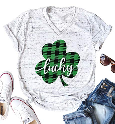 Lucky Shamrock St. Patrick's Day Irish T-Shirt Women V-Neck Plaid Print Tee Casual Short Sleeve Tops Size XL (Light -