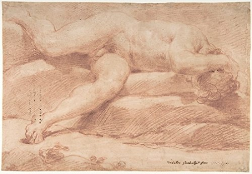 """Reclining Male Nude (recto) Seated Male Nude (verso) Poster Print by Ubaldo Gandolfi (Italian San Matteo della Decima 1728 """"1781 Ravenna) (18 x 24)"""