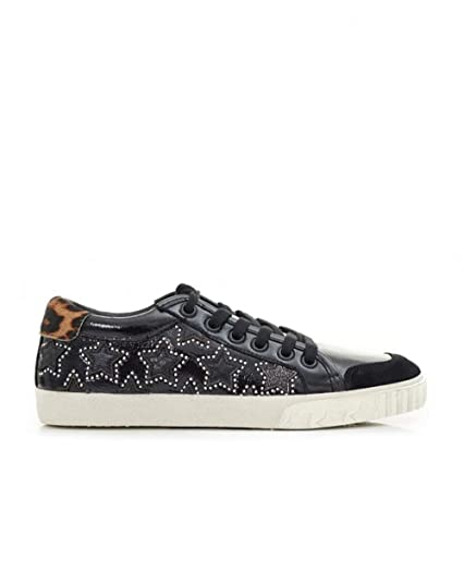 52361a57a5aa8 Ash MAJESTIC BIS Star Trainers Cosmic Black Leather & Leopard Print ...