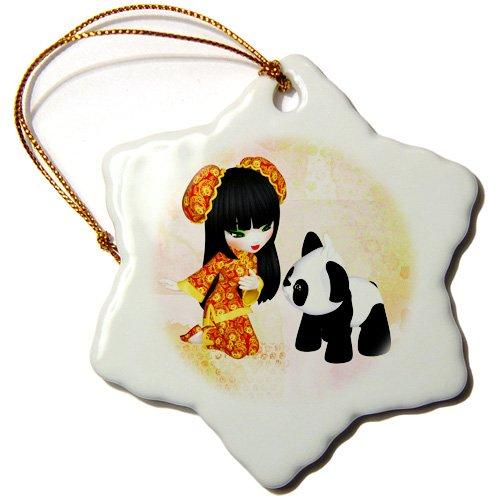 Ornament Snowflake China (3dRose ORN_200984_1 A Kawaii China Girl with a Panda Bear Snowflake Ornament, Porcelain, 3-Inch)