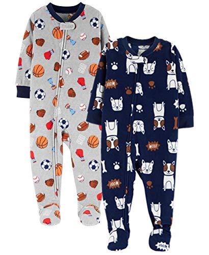 (Carter's Baby Boys' Toddler 2-Pack Fleece Pajamas, Sports/Dog, 5T )