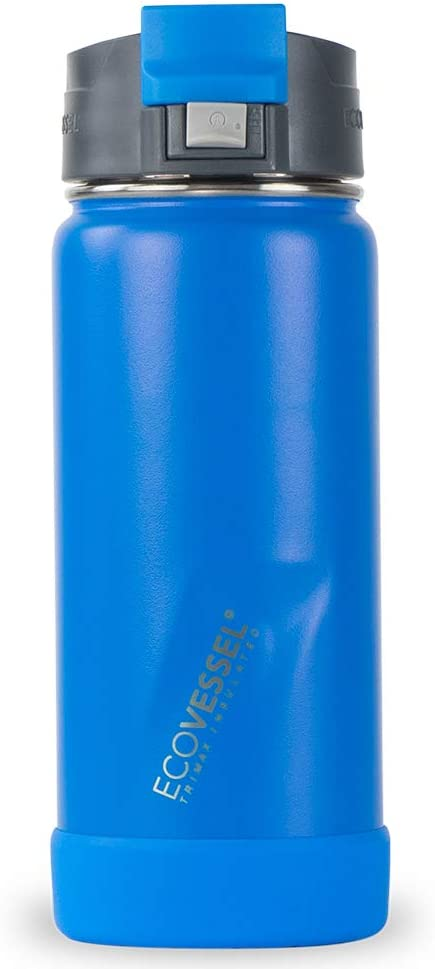 EcoVessel PERK Vacuum Insulated Stainless Steel Coffee & Tea Travel Bottle with Push Button Locking Top