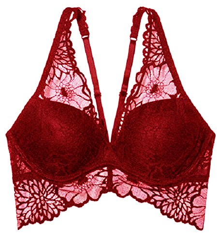 Victoria's Secret Pink Lace Bralette Push-Up Halter Red S