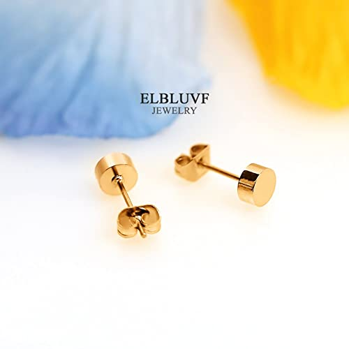 ELBLUVF Stainless Steel Rose Gold Plated Tiny Dot Round Ball Stud Earrings VvFkdd