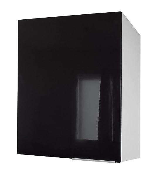 Berlenus CP6HN - Mueble bajo de Cocina con 1 Puerta (60 cm), Color Negro Brillante
