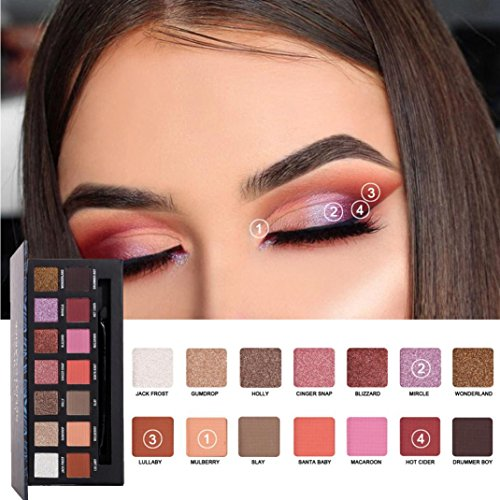 Sacow Eyeshadow, 14 Colors Pearl Metallic Eyeshadow Long Lasting Eye Shadow Palettes Makeup (B)