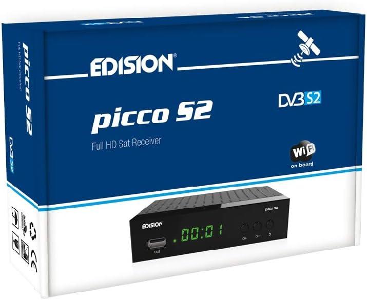 Edision Picco S2 - Receptor de satélite Full HD, WiFi, HDMI, SCART, receptor de IR, Negro
