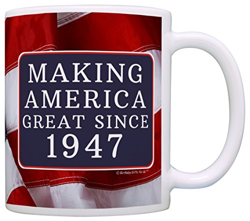 70th Birthday Gifts For All Making American Great Since 1947 Republican Gift Coffee Mug Tea Cup USA Flag