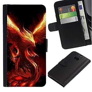 KingStore / Leather Etui en cuir / HTC One M8 / Monstre Démon Phoenix