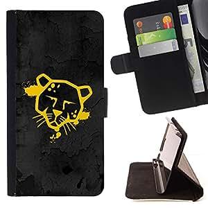 For Samsung Galaxy S4 Mini i9190 (NOT S4) Case , Divertido Street Art Graffiti Cougar Jaguar- la tarjeta de Crédito Slots PU Funda de cuero Monedero caso cubierta de piel