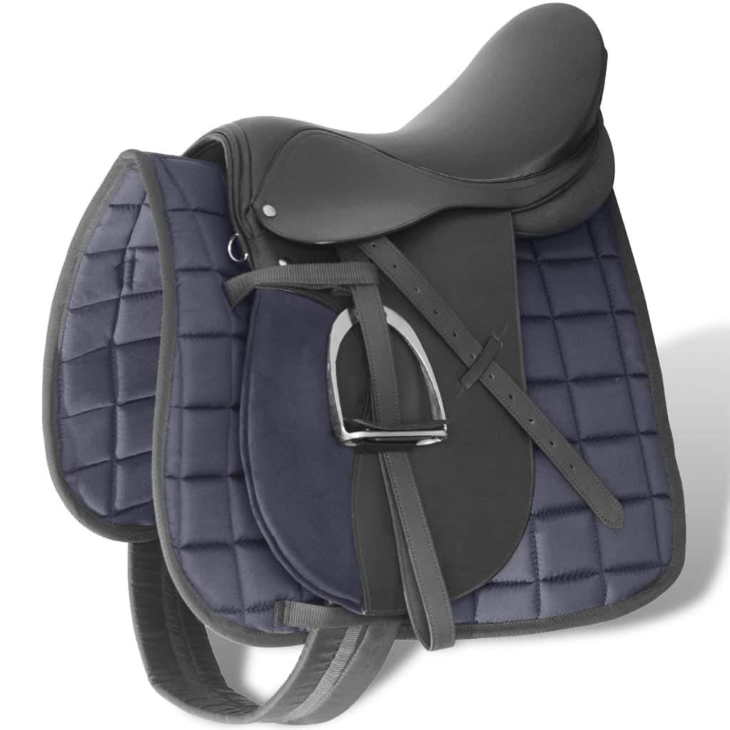 Black 14 cm Black 14 cm vidaXL Horse Riding Saddle Set 16  17,5  Real Leather Brown Black 12 14 18 cm 5-in-1