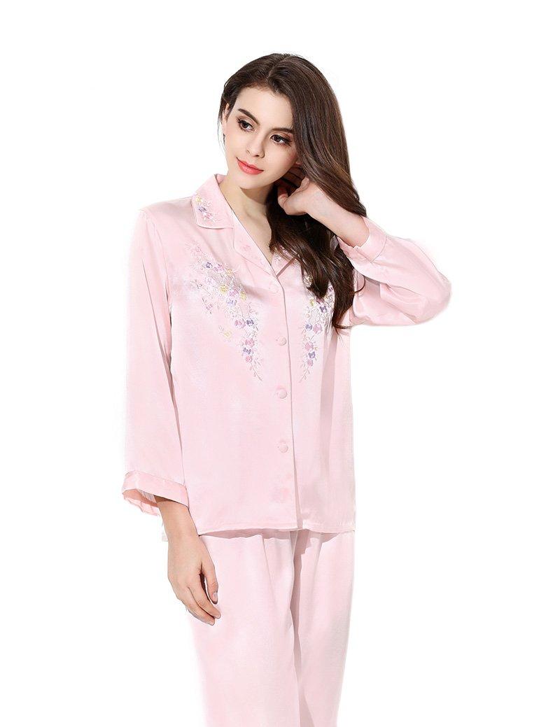 Women's Sleep Sets Pure Silk Nightwear Summer Nightclothes Babypink S