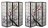 Major-Q Decoration Japanese Oriental Style Room Screen Divider (4panels-BlossomX2)