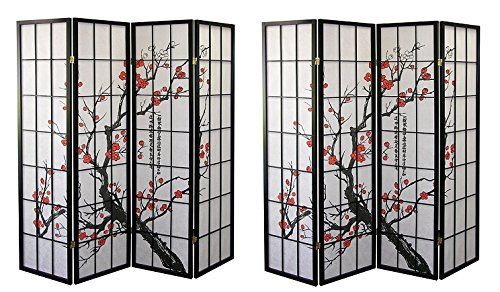Major-Q Decoration Japanese Oriental Style Room Screen Divider (4panels-BlossomX2) by Major-Q