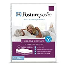 Sealy Posturepedic Cooling Comfort Waterproof Fitted Mattress Protector - Vinyl Free & Hypoallergenic - 10 Year Warranty, Twin