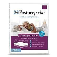 Sealy Posturepedic Cooling Comfort Waterproof Fitted Mattress Protector - Vinyl Free & Hypoallergenic - 10 Year Warranty, Queen