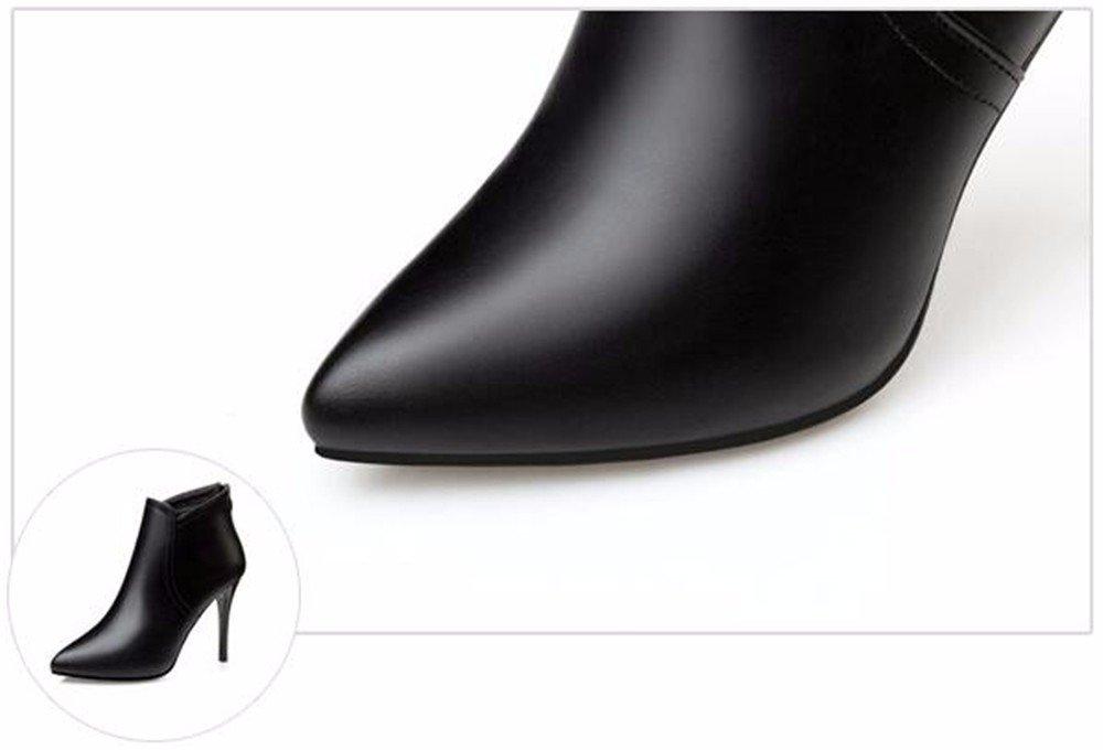 FLYRCX Herbst und Winter Fashion Stil einfach scharfe Ferse im europäischen Stil Fashion mit dicken warmen Stiefel Damen party High Heels d72666