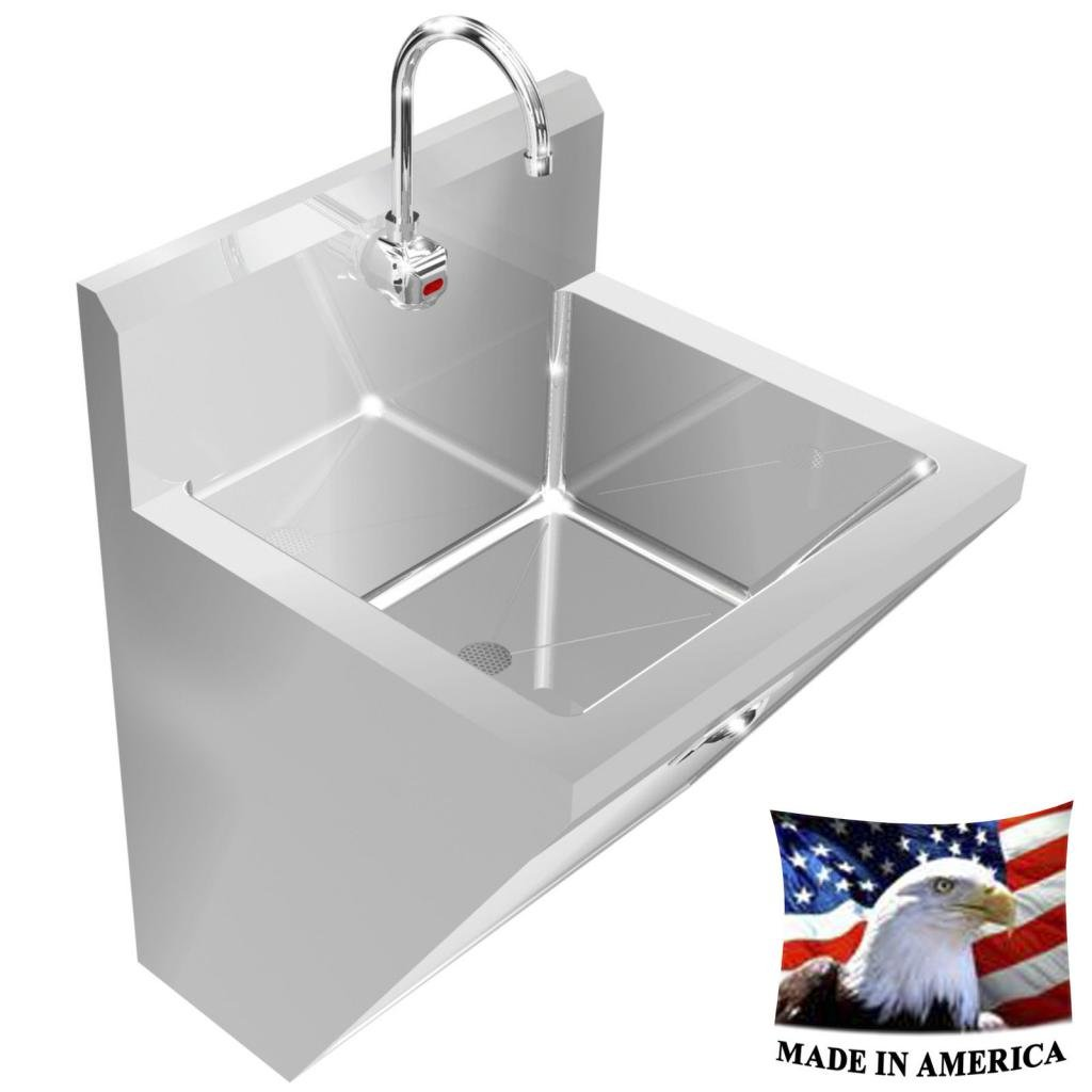 SURGEON'S HAND SINK ELECT. FAUCET HANDS FREE SINGLE STATION 24'' STAINLESS STEEL by BSM