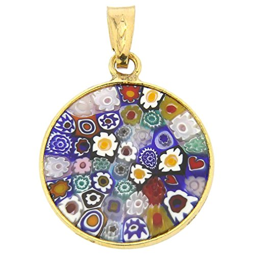 GlassOfVenice Murano Glass Millefiori Pendant Multicolor in Gold-Plated Frame - Glass Pendant Murano Gold