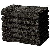 AmazonBasics Toalla de algodón de mano, resistente a la decoloración, paquete de 6, negro