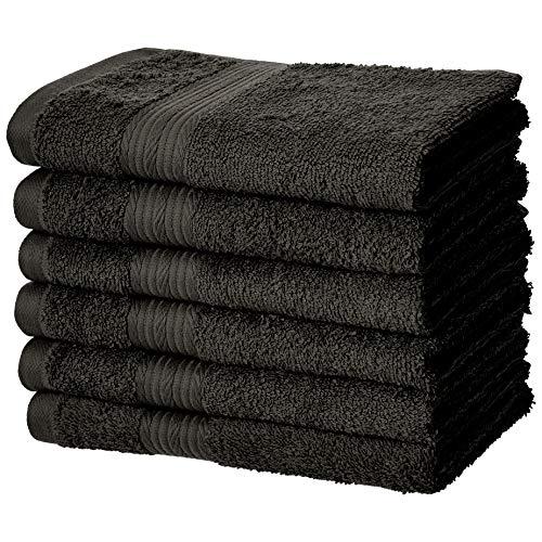 AmazonBasics Fade-Resistant Cotton Hand Towel - Pack of 6, Black