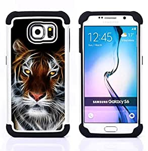 BullDog Case - FOR/Samsung Galaxy S6 G9200 / - / Fierce Magical Tiger /- H??brido Heavy Duty caja del tel??fono protector din??mico - silicona suave