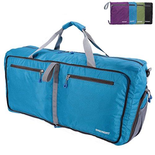 ENKNIGHT 75L Travel Waterproof Foldable Duffel Bag Luggage Bag Sports Gym Bag Blue