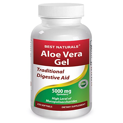Aloe Vera Gel Softgel Capsules - Best Naturals Aloe Vera gel 5000 mg 250 Softgels