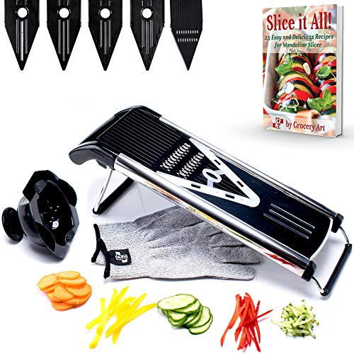 [Improved] Mandoline Slicer V-Blade + FREE Cut-Resistant Gloves - Stainless Steel Adjustable Vegetable Mandolin Food Slicer, Julienne Cutter - Includes 5 Inserts, Food Holder & Blade Guard