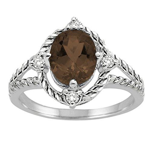 Smokey Quartz 10k Gold (Smokey Quartz and Diamond Ring in 10K White Gold)