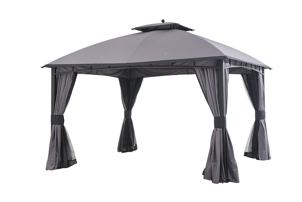Sunjoy 12' x 10' Mirage Soft top Gazebo with Netting and Curtain, Gray/Black Trim