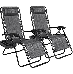 2PCS Grey Zero Gravity Recliner Lounge Chair Cup Tray Holder Foldable Design Patio Outdoor Garden Deck Backyard Camping Picnic Pool Beach Décor Furniture UV-Resistant Removable Adjustable Headrests